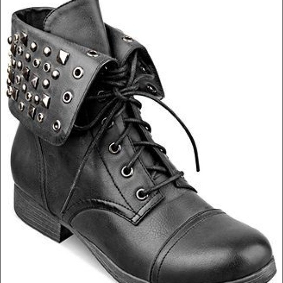 44% off Shoes - Pink and pepper black studded combat boots from ...