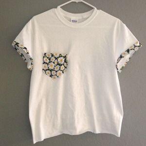 TopsByTai Tops - Daisy Pocket White Shirt