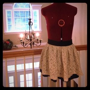 White lace black skirt
