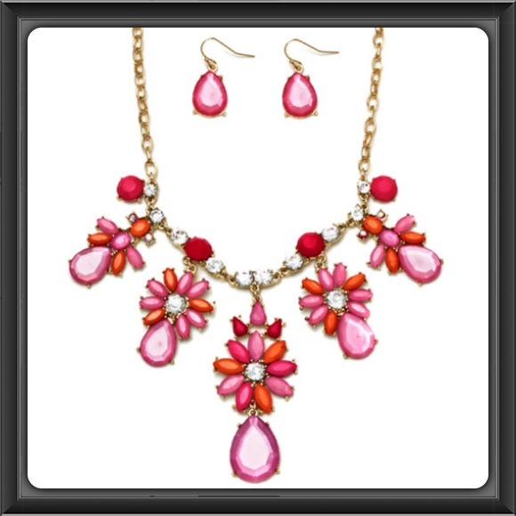 Ella euro jewelry pink flower necklace earring set poshmark pink flower necklace earring set mightylinksfo