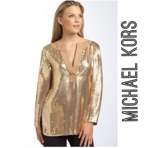 Michael Kors Tops - ⭐️Michael Kors gold sequin tunic