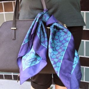 Coach Accessories - Coach Blue and Teal Silk Scarf and Dust Bag