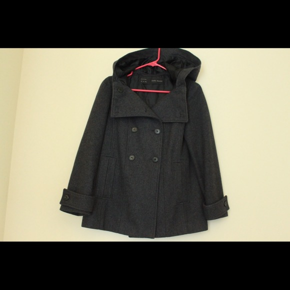 Zara wool coat w/ hood