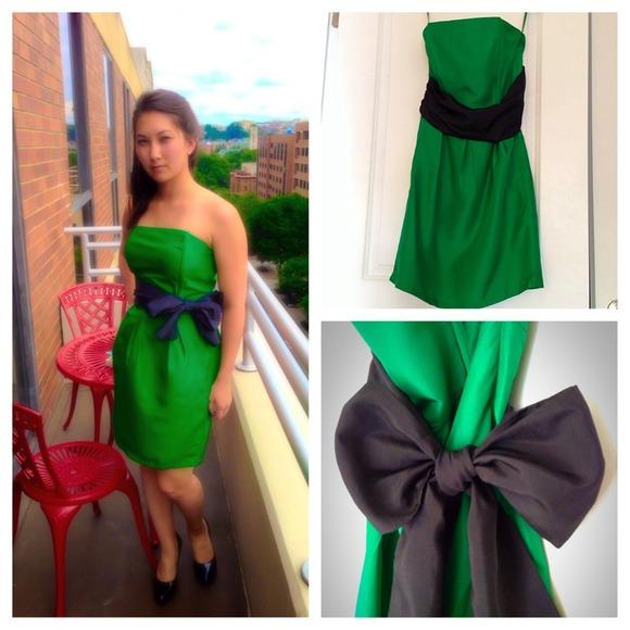 Green Cocktail Dress With Black Sash