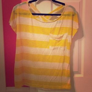 Yellow and white striped shirt with detailed back