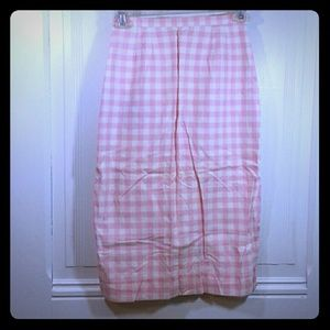 Vintage White & Pink checkered Pencil Skirt