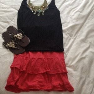 Old Navy hot pink two tiered ruffle skirt
