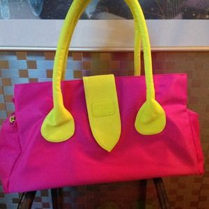 Neon pink and yellow/green nylon and leather tote.