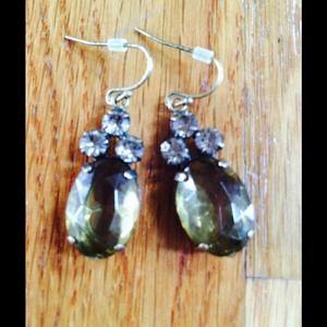 Green teardrop earrings