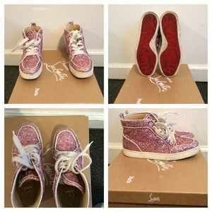 Christian Louboutin pink glitter sneakers