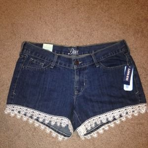 Denim shorts with lace trim