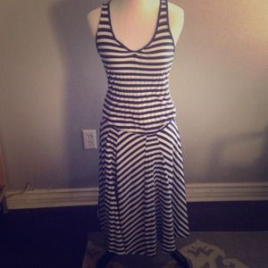 Nautical style dress - thin navy blue stripes