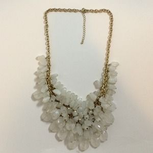 Frosted White Beads & Brass Chain Bib Necklace