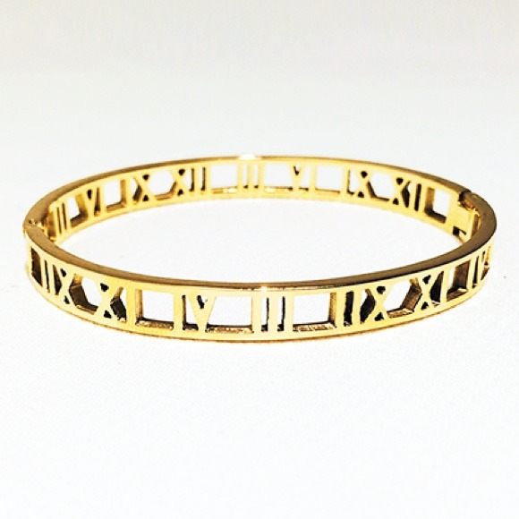 Roman Numerals Bangle Gold Plated