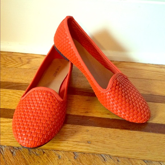 Nine West Shoes Woven Orange Flat Poshmark