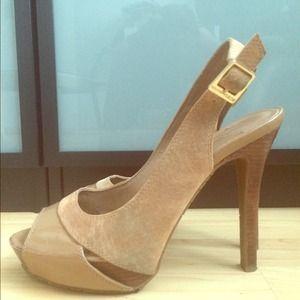 BCBG Tan Leather Open-Toe Slingback Heels 8.5