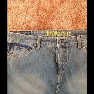 "Hydraulic Denim - Short & Sassy Hydraulic 12"" Skirt length Size 9/10"