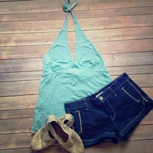 Teal Super Soft J. Crew Halter Top