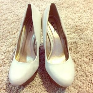 Shoes - White and Brown Wedges