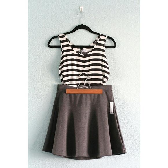 HP⭐️- Striped Tank + NWT Gray Skater Skirt