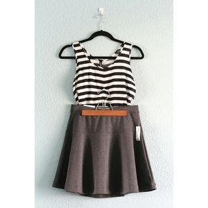 Dresses & Skirts - HP⭐️- Striped Tank + NWT Gray Skater Skirt