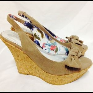 Suede Bamboo Wedges
