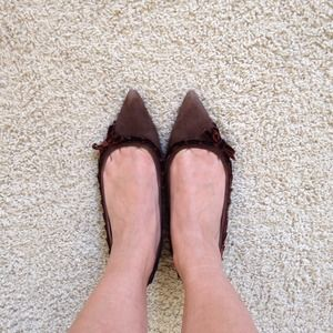 J.Crew Brown Suede Pointed Flats