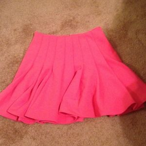 Pink mini flare skirt