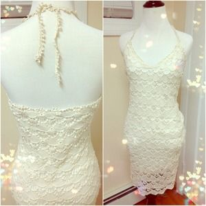 ZARA Halter Knit Crochet Ivory Dress
