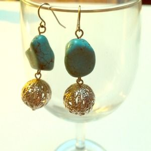 Turquoise and filigree earrings