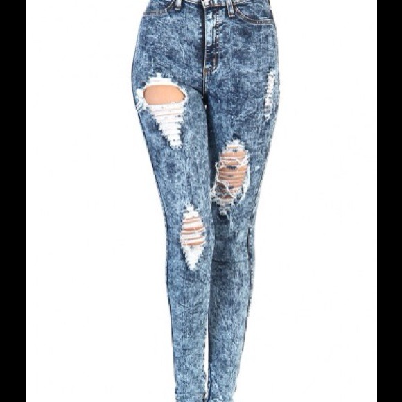 60% off 2cute Denim - (high waisted) Ripped acid wash skinny jeans ...