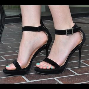 Black ankle wrap heels