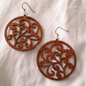 Hand-carved wooden dangle earrings