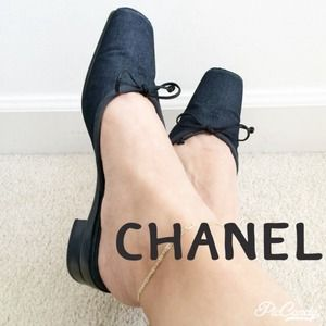 CHANEL DARK DENIM FLAT SLIDES