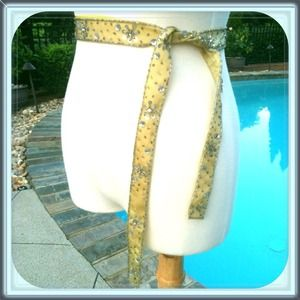 Accessories - Gold beaded, fabric/ribbon belt