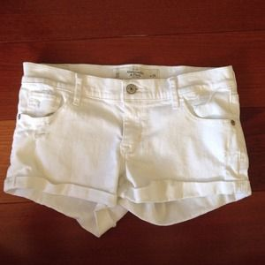 A&F White denim shorts