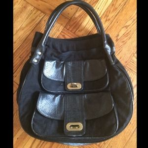 Double handle tote with leather trim