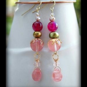Cherry Quartz & Raspberry Agate gold earrings