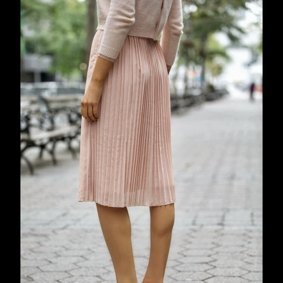 a08be2592b8b H&M Skirts | Nwt Hm Pleated Midi Blush Skirt Sz 10 | Poshmark