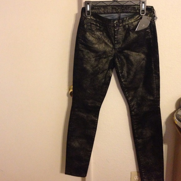 NWT 7 all Mankind black with Gold metallic coated