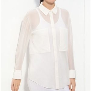T by Alexander Wang White Silk Blouse.  Medium NWT