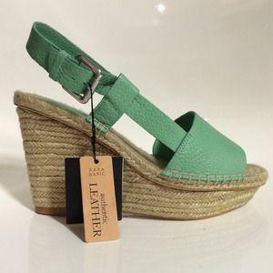 ZARA Mint Green Teal Wedge Heel Espadrilles Shoes
