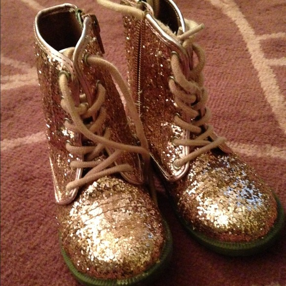 64% off Shoes - Little girl pink glitter combat boots size 8 from ...