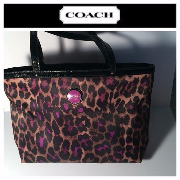 49 Off Coach Handbags Coach Purple Ocelot Tote From