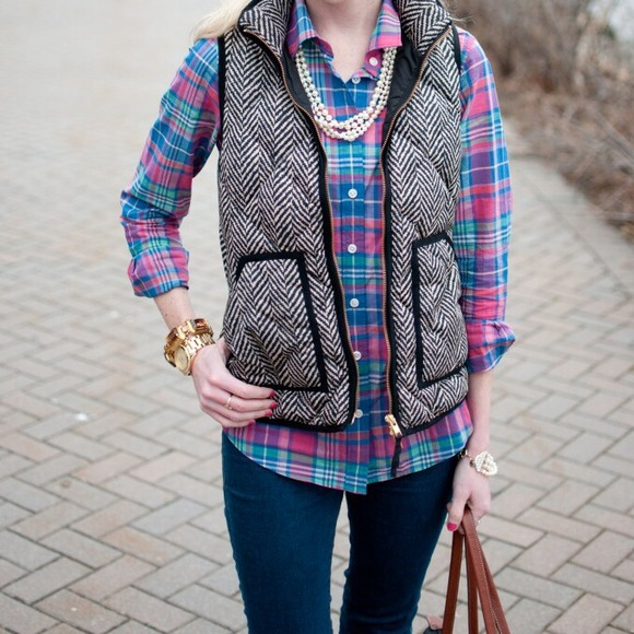 NWT J Crew Factory Novelty Excursion Quilted Puffer Down Vest Herringbone