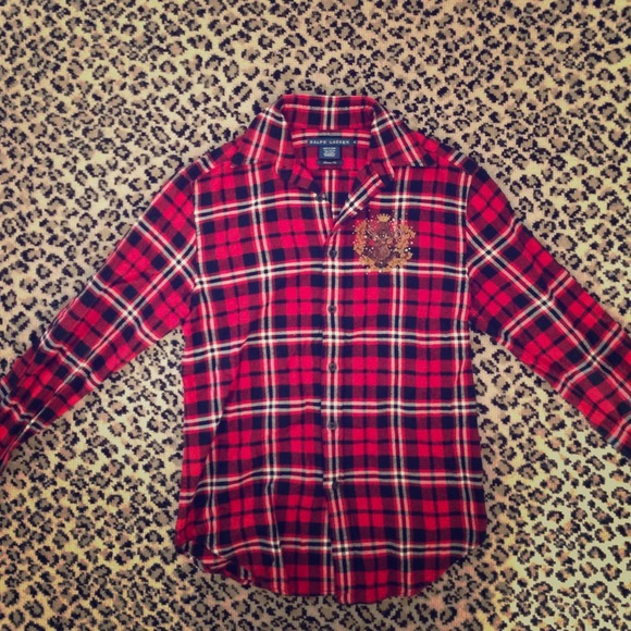 97626ded3b Ralph Lauren red black flannel with sparkly crest.  M 53cff2363a3efc264a49b224