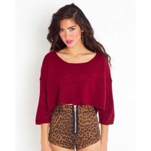 Nasty gal sweater Wine cropped crop top