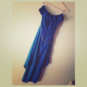 Blue High Low Dress With Light Gold Chain