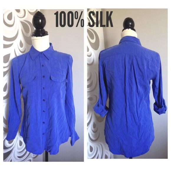 bc0999cd67914 100% silk blue button down blouse