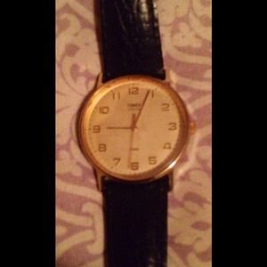 Vintage timex watch leather band
